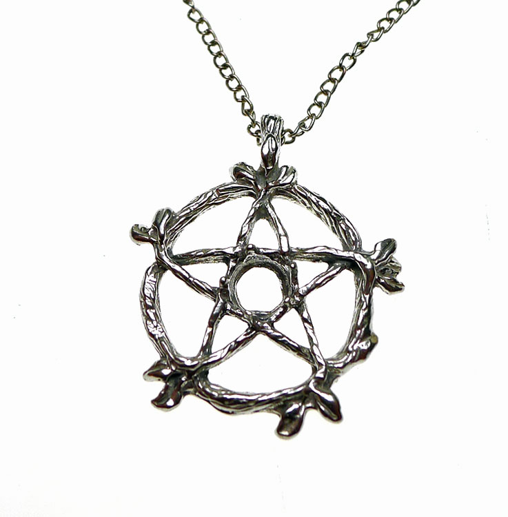 Sterling silver bailed vine pentacle pendant with cab area sterling silver druid vine pentacle pendant with gemstone inset area aloadofball Gallery