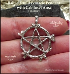 Sterling Silver Vine Pentacle Pendant with Cab Area, Druid Pentagram Jewelry