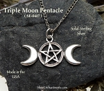 Another Design Ripped Off By China!! FUCK You! -- What's the Point in making anymore? Sterling Silver Triple Moon Pentacle Pendant, Triple Moon Goddess Jewelry