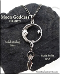 Sterling Silver Moon with Dangling Goddess Pendant, Celestial Goddess Necklace