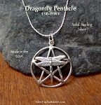 Sterling Silver Dragonfly Pentacle Pendant, Dragonfly Pentagram Necklace