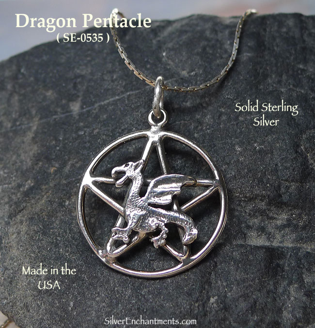 Sterling Silver Dragon Pentacle Pendant, Fantasy Pagan Jewelry