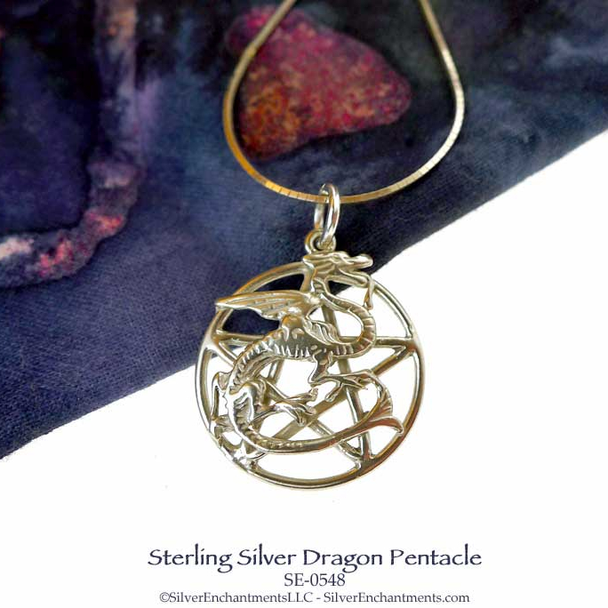 Sterling silver dragon pentacle pendant or necklace pagan dragon sterling silver dragon pentacle pendant or necklace pagan dragon jewelry aloadofball Gallery