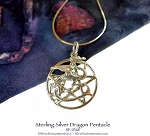 Sterling Silver Dragon Pentacle Pendant or Necklace, Pagan Dragon Jewelry