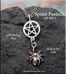 Sterling Silver Spider Pentagram Pendant, Pentacle with Dangling Spider Jewelry