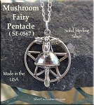Sterling Silver Mushroom Fairy Pentacle Pendant, Fairy Pentagram Jewelry