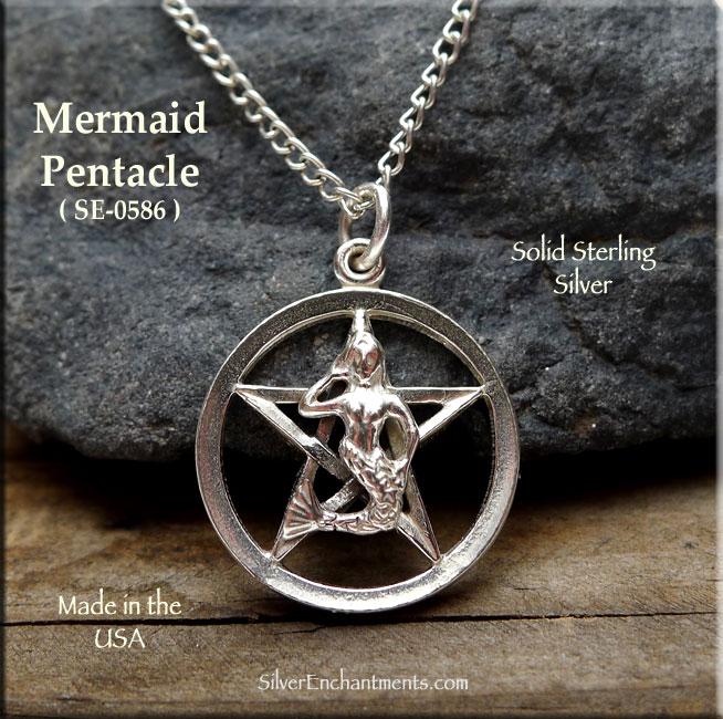 Sterling Silver Mermaid Pentacle Pendant Pentagram With