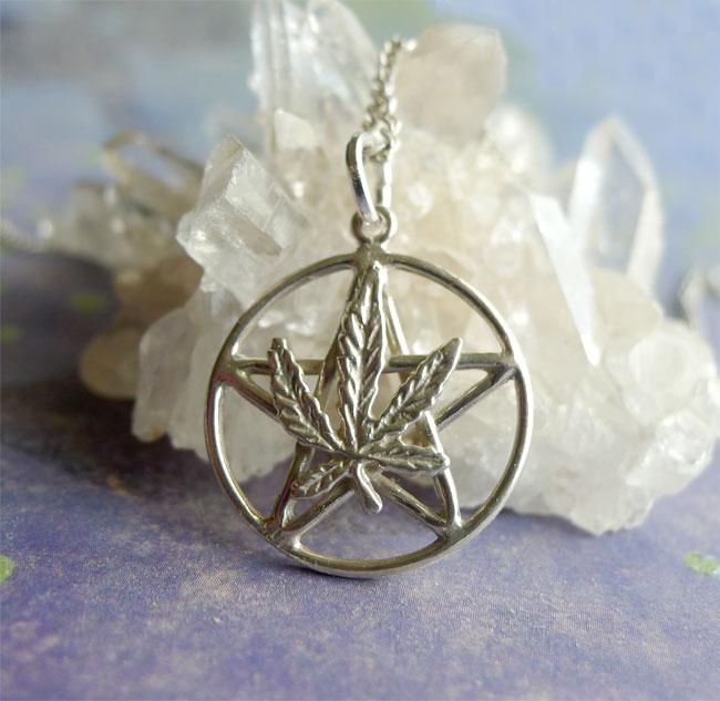 Sterling Silver Marijuana Pentacle Hemp Leaf Pentagram
