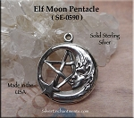Sterling Silver Fairy Moon Pendant, Pagan Jewelry