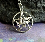 Sterling Silver Dragon Pentacle Pendant, Fantasy Pentagram Jewelry