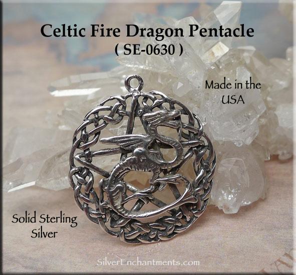 Sterling Silver Celtic Fire Dragon Pentacle Pendant