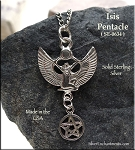 Sterling Silver Isis with Dangling Pentacle Pendant, Egyptian Goddess Jewelry