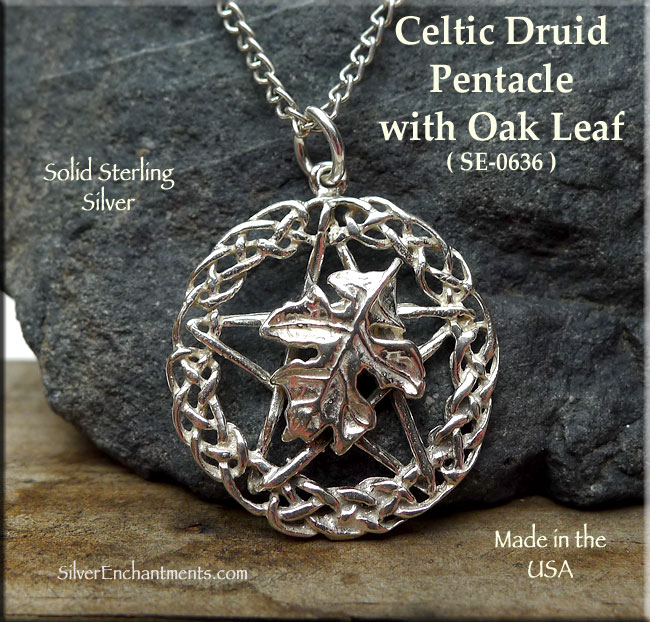 Sterling Silver Celtic Druid Pentacle Pendant With Oak