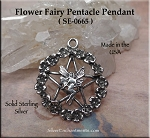Sterling Silver Flower Fairy Pentacle Pendant