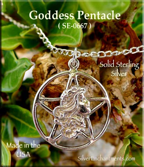 Sterling Silver Maiden Goddess Pentacle