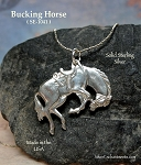 Sterling Silver Bucking Horse Pendant, Rodeo Necklace