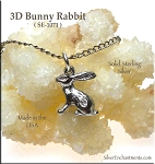 Sterling Silver Rabbit Charm, 3D Bunny