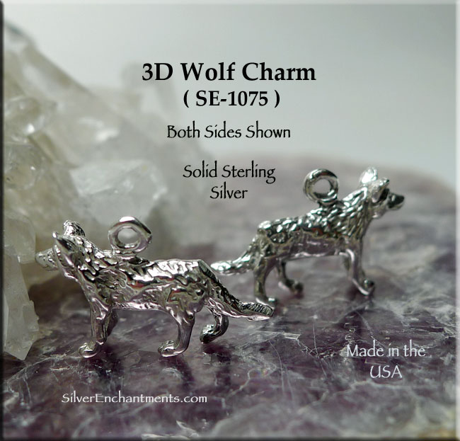 Sterling Silver Wolf Charm, 3D