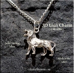 Sterling Silver Lion Charm, 3D Roaring