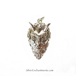Sterling Silver Horned God Pendant, Devil Krampus