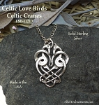 Sterling Silver Celtic Love Birds Pendant, Celtic Cranes