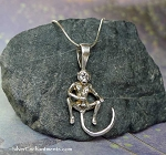Sterling Silver Naughty Monkey Pendant, Masturbating Monkey