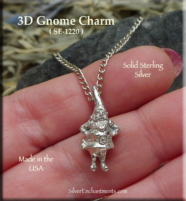 Sterling Silver Gnome Charm, 3D Garden Gnome