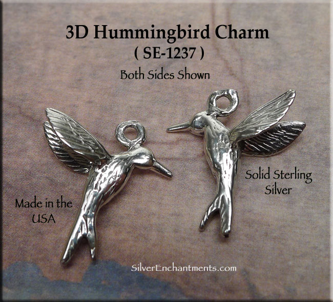 NEW STERLING SILVER HUMMINGBIRD 3D CHARM PENDANT