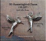 Sterling Silver Hummingbird Charm, 3D Hummingbird Necklace