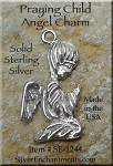 Sterling Silver Praying Angel Charm-Pendant, Child