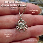 Sterling Silver Crab Charm, Cancer Zodiac