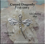 Sterling Silver Dragonfly Pendant, Curved Tail