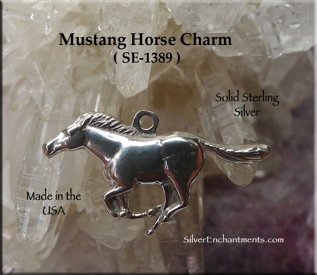 Sterling Silver Wild Horse Charm, Mustang