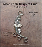 Sterling Silver Moon Jewelry Connector, Crescent Moon with 3 Loops
