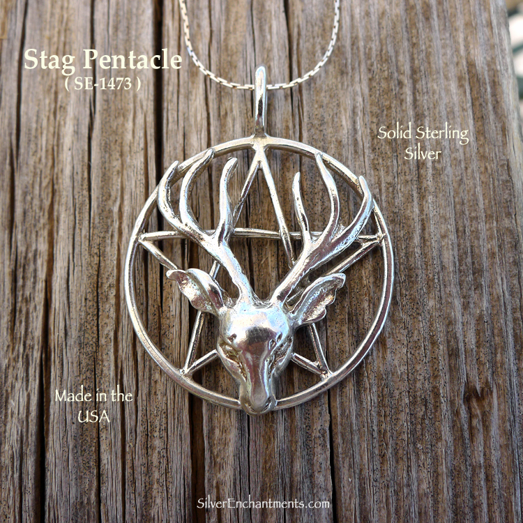 Sterling Silver Stag Pentacle Pendant Bailed Large