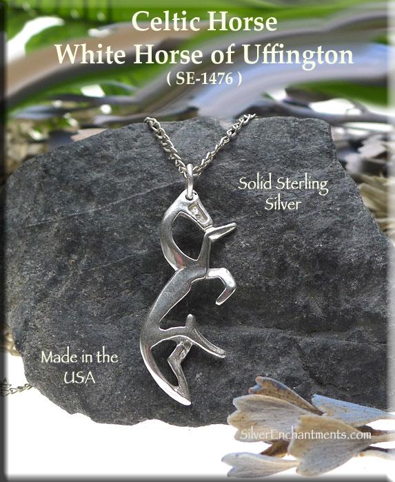 Sterling silver celtic horse pendant white horse of uffington sterling silver white horse necklace aloadofball Images