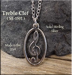 Sterling Silver Ringed Treble Clef