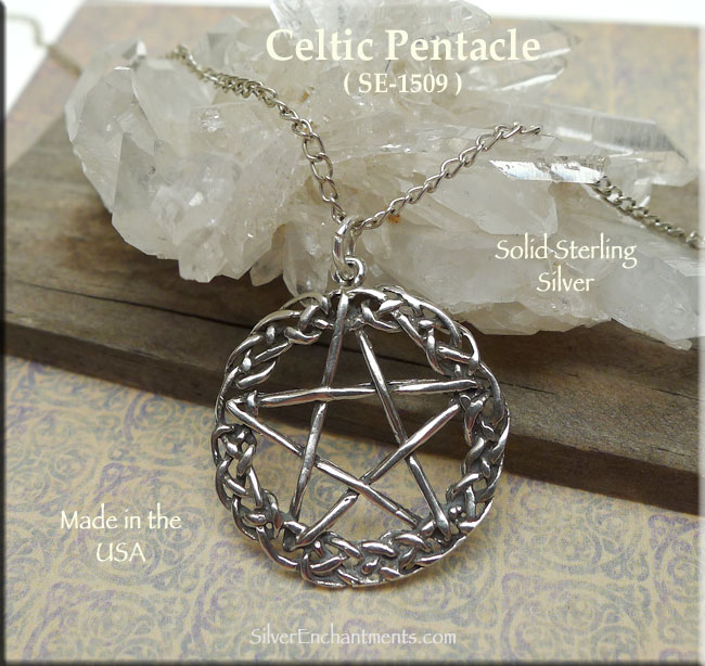 Sterling Silver Celtic Pentacle Pendant Celtic Pentagram