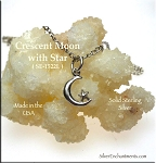 Sterling Silver Crescent Moon Charm with Star 14x8mm