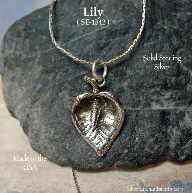 Sterling Silver Lily Pendant, 3D
