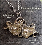 Sterling Silver Comedy-Tragedy Pendant Medieval Drama Masks