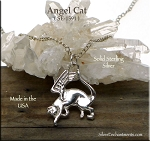 Sterling Silver Angel Cat Pendant, Cat with Wings