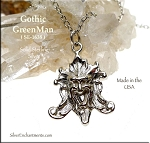 Sterling Silver Greenman Pendant, Florentine Gothic