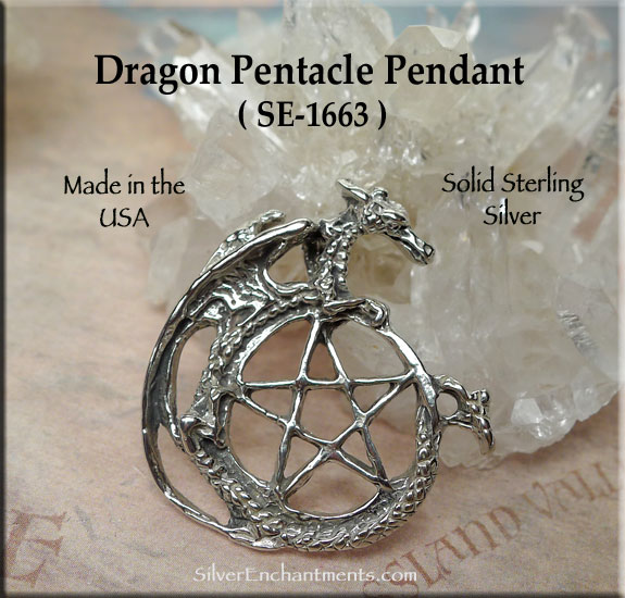Sterling Silver Dragon Pentacle Pendant Pentagram With