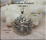 Sterling Silver Bailed Greenman Pendant