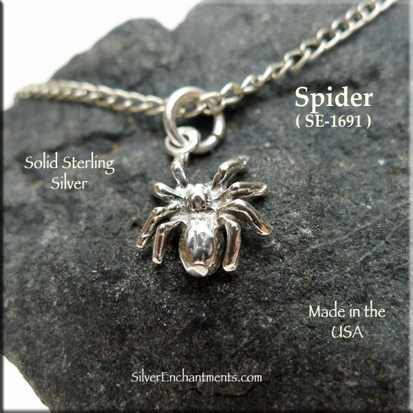 Spider Charm Silver Pendant