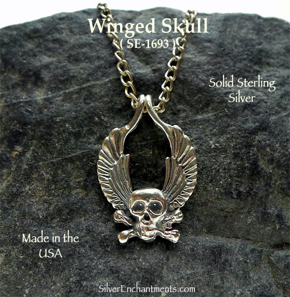 Sterling Silver Winged Skull Pendant