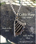 Sterling Silver Celtic Harp Charm, 3D