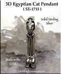 Sterling Silver Egyptian Cat Pendant, 3D Bast
