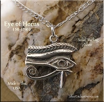 Sterling Silver Eye of Horus Pendant Necklace, Egyptian Jewelry
